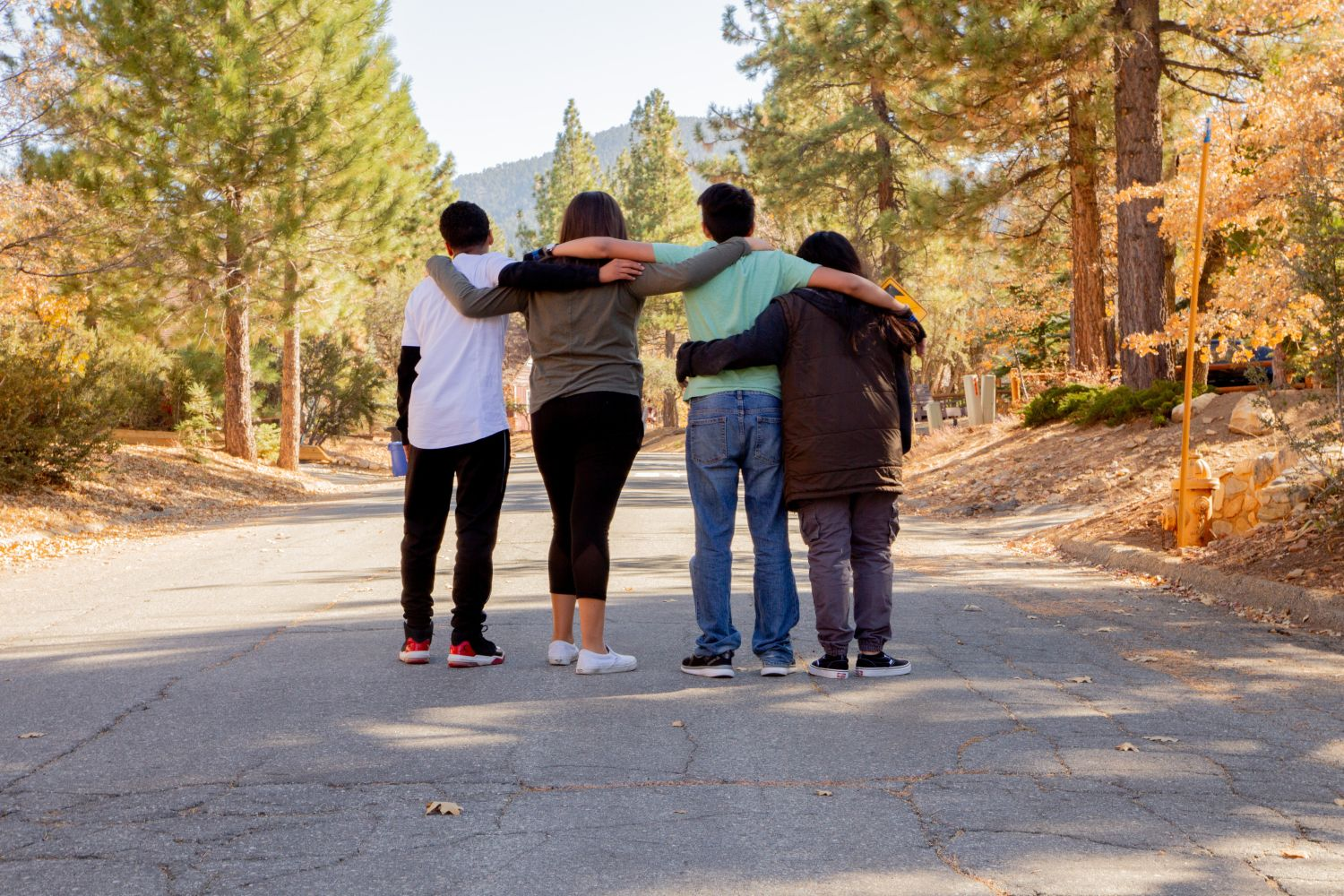 Group of Teenagers Arms Across Shoulders